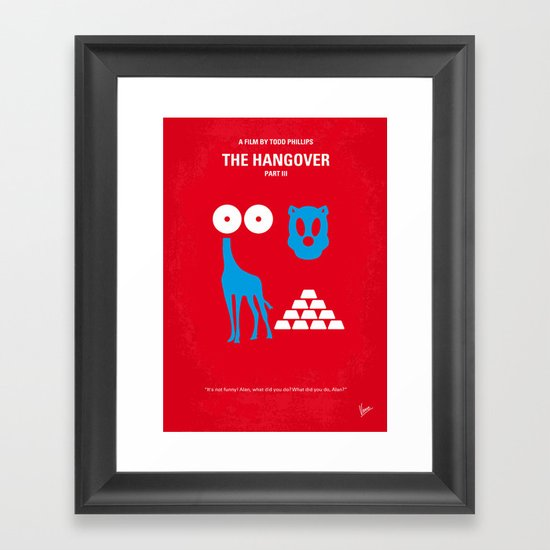 No145 My THE HANGOVER PART 3 minimal movie poster Framed Art Print