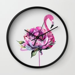 Flower Flamingo Wall Clock