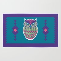 indie Area & Throw Rugs featuring Indie Owl by Dino DAdamo