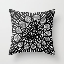 Black and White Doodle 7 Throw Pillow