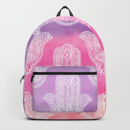 Boho white hand drawn floral lace hamsa hands of fatima purple pink watercolor ombre Backpack