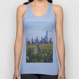 Astronaut in the Field-New York City Skyline Unisex Tank Top