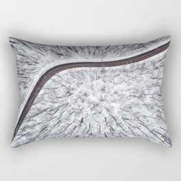 Winter forest and Road. Top view. Rectangular Pillow