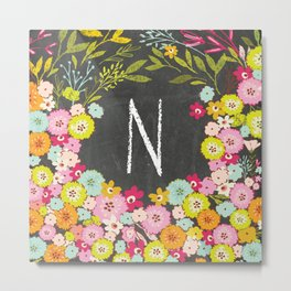 N botanical monogram. Letter initial with colorful flowers on a chalkboard background Metal Print