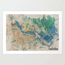 Amsterdam, the watercolor beauty Art Print