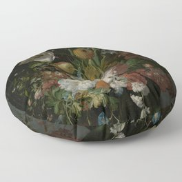 Rachel Ruysch - Still life with flowers in a glass vase (1690-1720) Floor Pillow