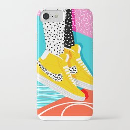 Kid You Not - memphis retro shoes fashion throwback 80s style trends minimalist art neon iPhone Case