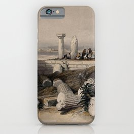 Vintage Print - The Holy Land, Vol 2 (1843) - Ruins of an Ionic temple, called Om El Hamed, Tyre iPhone Case