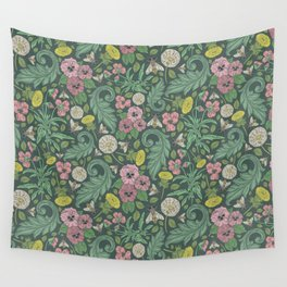 Pink pansy with dandelions and bee on gray background Wall Tapestry