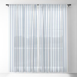 Light blue ticking stripes Sheer Curtain