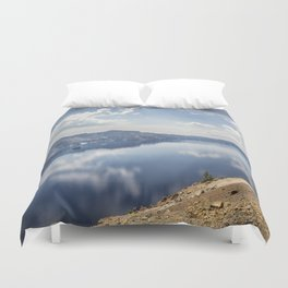 Crater Lake with a view of the Phantom Ship Duvet Cover