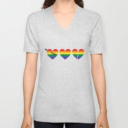 Hearts with gay flag (gay pride) Unisex V-Neck