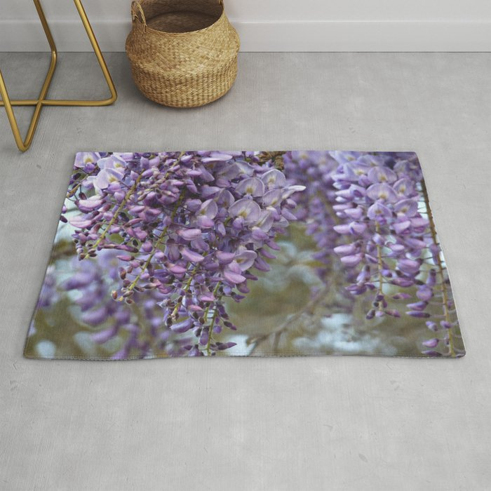 Spring Botanical Wisteria Lane Boldly Floral Purple Lavender And Orchid Landscape Rug By Chickensinthetrees