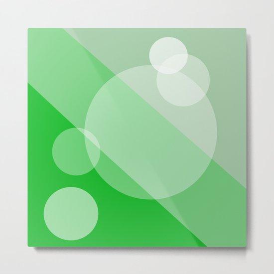 Five Spheres Abstract - Green Metal Print