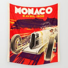 Monaco Grand Prix 1930 - Vintage Poster Wall Tapestry
