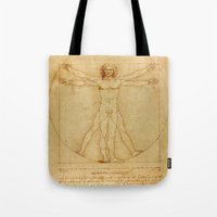da vinci Tote Bags featuring  Leonardo da Vinci, Vitruvian Man by Mirakyan