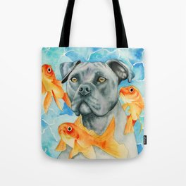 Guardian | Pit Bull Dog and Goldfishes Fantasy Watercolor Illustration Tote Bag