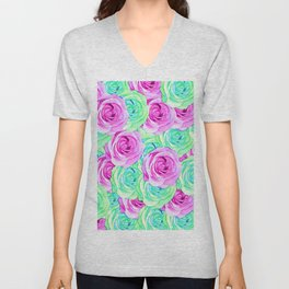 blooming rose texture pattern abstract background in pink and green Unisex V-Neck