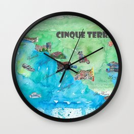 Cinque 5 Terre Italy Favorite Travel Map with touristic Top Ten Highlights Wall Clock