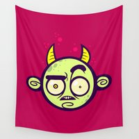 devil Wall Tapestries featuring Confused Devil by Artistic Dyslexia