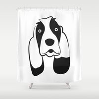 the hound Shower Curtains featuring Basset Hound by anabelledubois