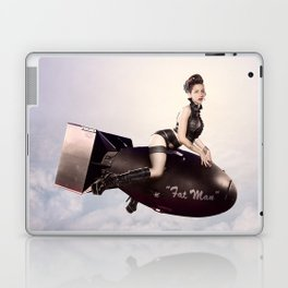 """Up and Atom"" - The Playful Pinup - Military Bomb Pin-up Girl by Maxwell H. Johnson Laptop & iPad Skin"