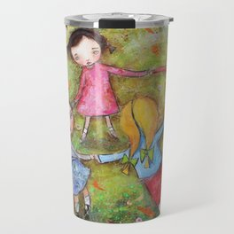Autumn Mistral, playing ring-a-ring-a-rosie on a windy day Travel Mug