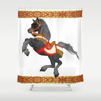 pony Shower Curtains featuring Grey Pony by Moonlake Designs