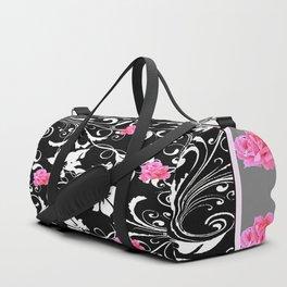 BEAUTIFUL PINK GREY-BLACK ROSE SCROLLS Duffle Bag