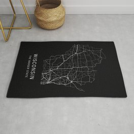 Wisconsin State Road Map Rug