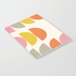 Cute Geometric Shapes Pattern in Pink Orange and Yellow Notebook