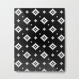 Arizona - Black and white native tribal design in geometric blocks Metal Print