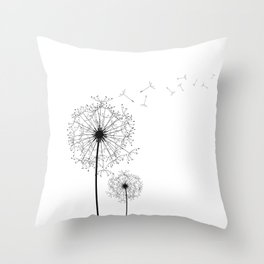 Black And White Dandelion Sketch Throw Pillow