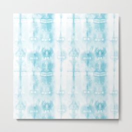 Light Blue Tie-Dye Plaid Metal Print