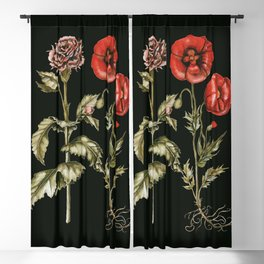 Carnation & Poppy on Charcoal Blackout Curtain
