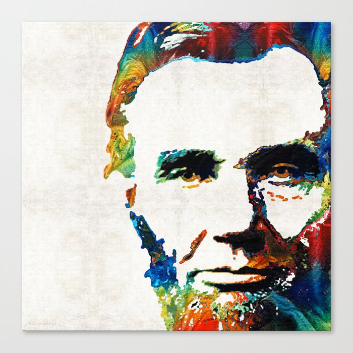 Canvas Lincoln Tech >> Abraham Lincoln Art Colorful Abe By Sharon Cummings Canvas Print
