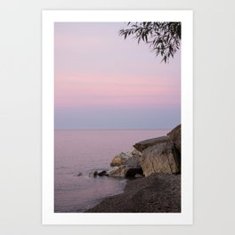 Lake Michigan Summer Golden Hour Sunset Pastel Water and Sky Southeast Wisconsin Art Print
