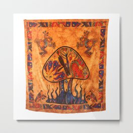 Orange twin forest mushroom tapestry Metal Print