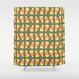 Candy Corn Tango in Forest Green Shower Curtain