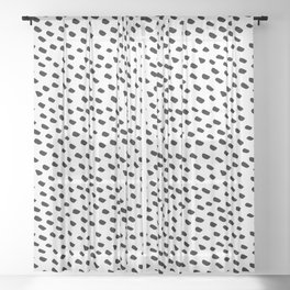 Brush Dot Pattern White Sheer Curtain