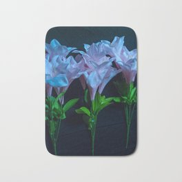 pink and blue flowers on black Bath Mat