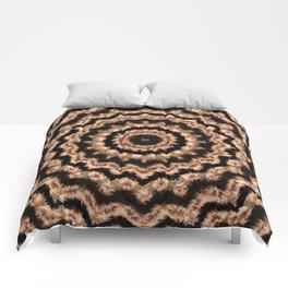 Kaleidoscope Beige Circular Pattern on Black Comforters