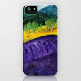 Lavender Field Contemporary Acrylic Painting iPhone Case