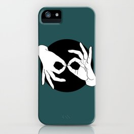 Sign Language (ASL) Interpreter – White on Black 07 iPhone Case