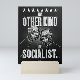 """Vintage """"The Other Kind of Socialist"""" Alcoholic Lithograph Advertisement in shiny silver Mini Art Print"""