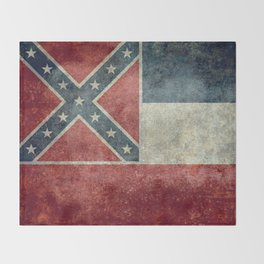 Mississippi State Flag - Distressed version Throw Blanket