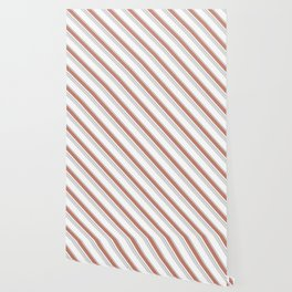 Uneven Diagonal Stripes in Light Terracotta, Gray and White Wallpaper