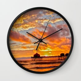 California Dreaming (cropped) ~ Huntington Beach Pier Wall Clock