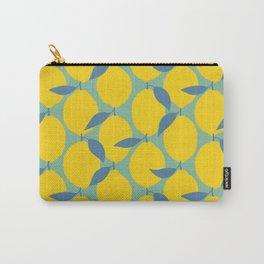 Oil Hand-painted Geometric Lemon Pattern, Vintage Style Citrus Illustration, Lemons With Beautiful Paint Texture, Yellow, Cobalt Blue, Mint Teal Color Carry-All Pouch