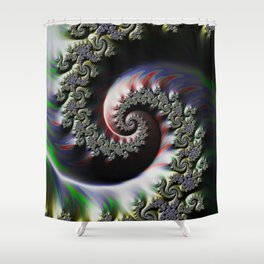 Cool Wet Paint Fractal Swirl of RGB Primary Colors Shower Curtain